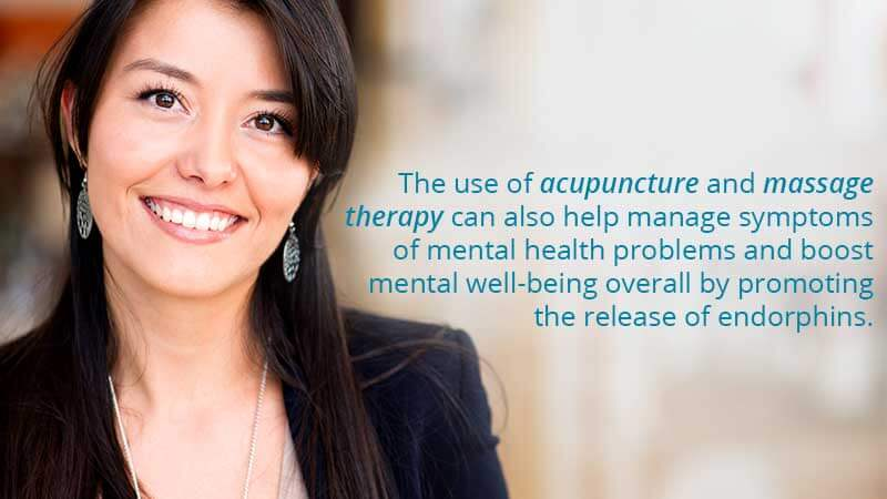 The use of acupuncture and massage therapy can also help manage symptoms of mental health problems and boost mental well-being overall by promoting the release of endorphins.