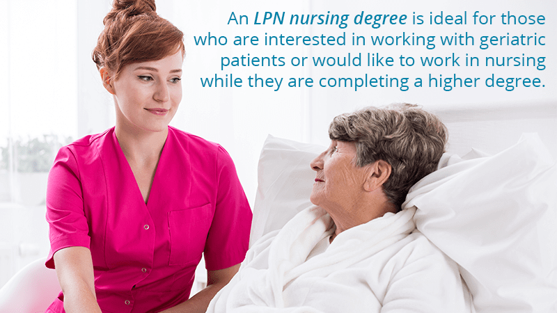 An LPN nursing degree is ideal for those who are interested in working with geriatric patients.