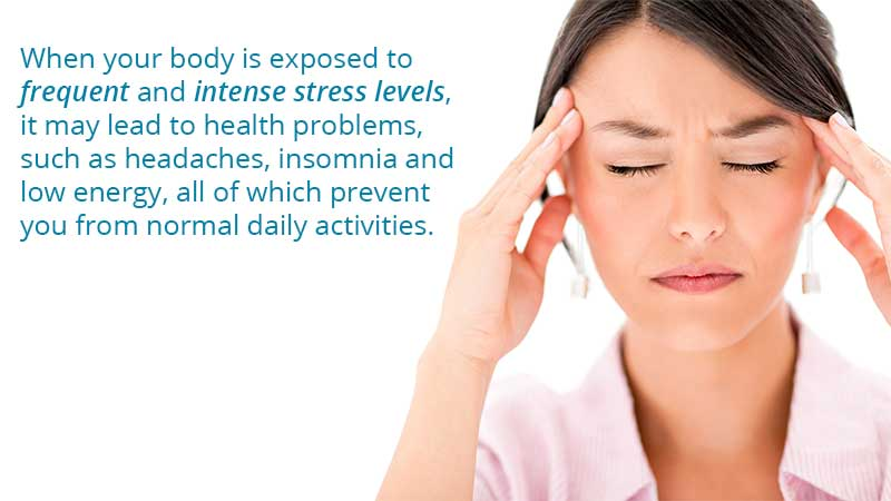 When your body is exposed to frequent and intense stress levels, it may lead to health problems, such as headaches, insomnia and low energy, all of which prevent you from normal daily activities.